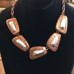 VTG Monet modernist copper look necklace